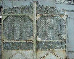 2-Flügelig, Tor, Schmiedeeisentor, Zaun, Einfahrtstor, Gitter, Tür mit Blech