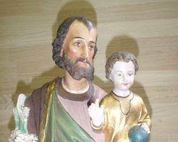 Heiligenfiguren, Maria mit Kind, Josef, mit, Kind, Gipsfiguren