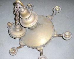 Lampe, Leuchter, Kronleuchter aus Messing, Sechsarmig