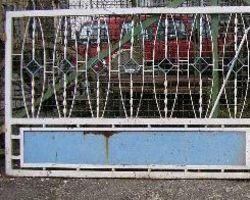 Eisentor, Schmiedeeisentor, Gitter, Zaun, 50 er, zwei Flügelig, Tor, Einfahrtstor, Gitter, Tür mit Blech