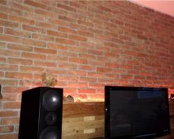 Wohnwand Lounge Kinkerriemchen geschnittener Mauerstein Ziegelriemchen Fliese Wandpanele Wandgestaltung Wandfliese alte Backsteine Rückbau Steine TV Rückwand Bücherwand