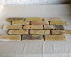 Mediterran gelbe Verblendsteine Klinkerriemchen original Mauerziegel Loft Steinwand Wandverkleidung Wandpaneele Ziegelwand Fliesen