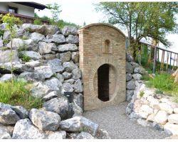 Mediterrane Ziegelwand Antik Ziegel KlinkerRiemchen original Rückbau Back Steine Kamin Ecke