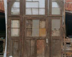 Antikes XXL Portal Hof Eingangs Tor Tür historisch Rahmen Oberlicht 2 flügelig Jugendstil