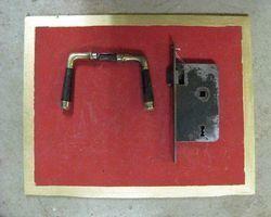 Drückergarnitur Messing -vernickelt mit Horngriff